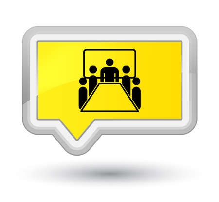 Meeting room icon isolated on prime yellow banner button abstract illustration