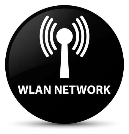 Wlan network isolated on black round button abstract illustration Stock Photo