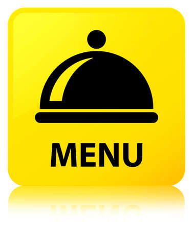Menu (food dish icon) isolated on yellow square button reflected abstract illustration Stock Photo