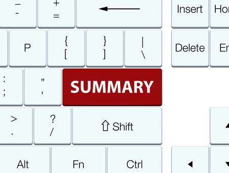 Summary isolated on brown keyboard button abstract illustration Stok Fotoğraf