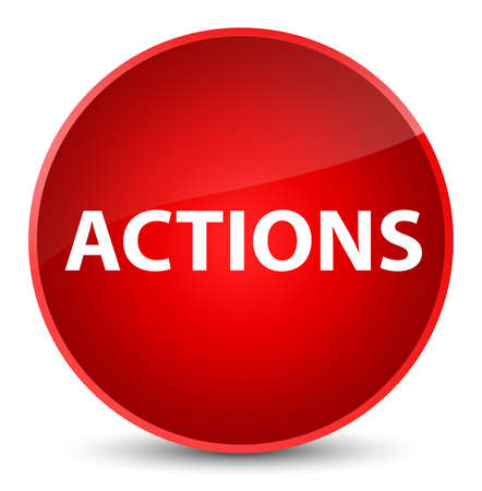 Actions isolated on elegant red round button abstract illustration
