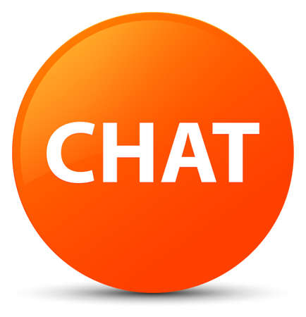 Chat isolated on orange round button abstract illustration