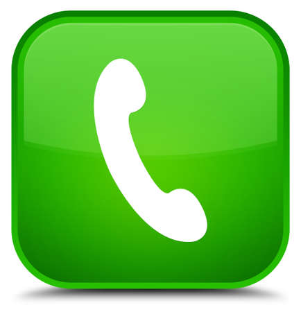 Phone icon isolated on special green square button abstract illustration Stock Photo