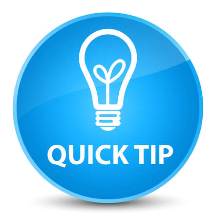 Quick tip (bulb icon) isolated on elegant cyan blue round button abstract illustration