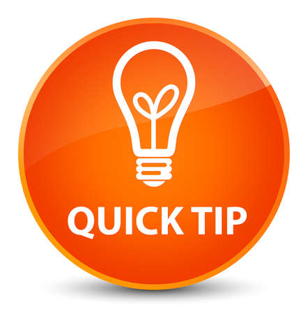 Quick tip (bulb icon) isolated on elegant orange round button abstract illustration