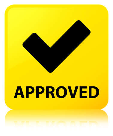 Approved (validate icon) isolated on yellow square button reflected abstract illustration Stock Photo