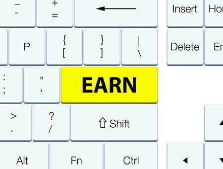 Earn isolated on yellow keyboard button abstract illustration