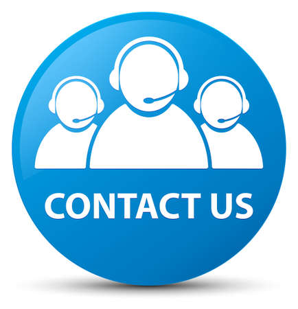 Contact us (customer care team icon) isolated on cyan blue round button abstract illustration