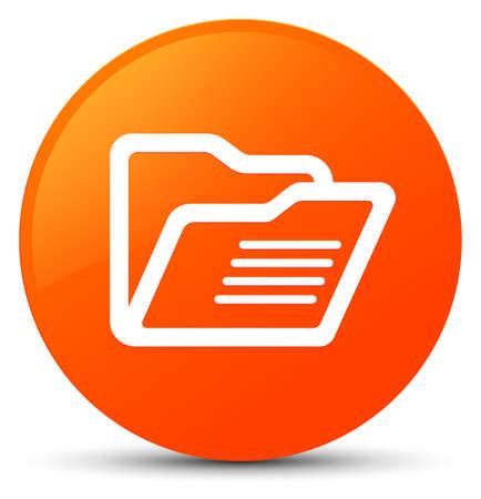 Folder icon isolated on orange round button abstract illustration Stock Photo