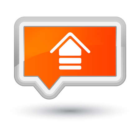 Upload icon isolated on prime orange banner button abstract illustration