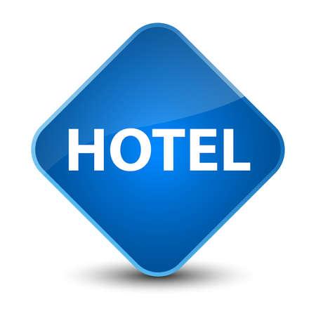 Hotel isolated on elegant blue diamond button abstract illustration