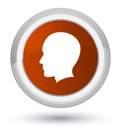Head male face icon isolated on prime brown round button abstract illustration Stock Photo