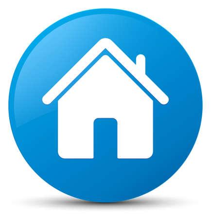 青緑色の丸いボタンの抽象的なイラスト青に分離されたホームのアイコン 写真素材