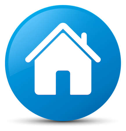 Home icon isolated on cyan blue round button abstract illustration