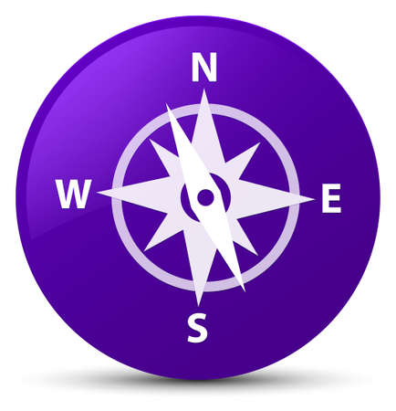 Compass icon isolated on purple round button abstract illustration