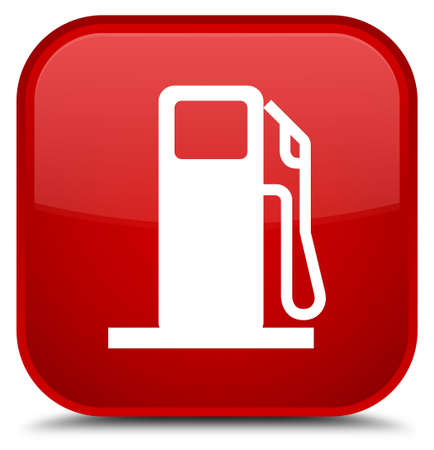 filling station: Fuel dispenser icon isolated on special red square button abstract illustration Stock Photo