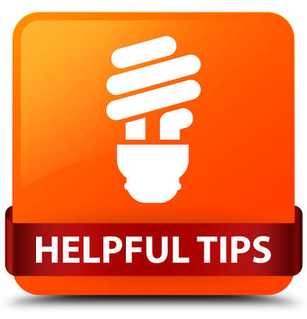 Helpful tips (bulb icon) isolated on orange square button with red ribbon in middle abstract illustration Stock Photo