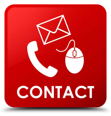Contact (phone email and mouse icon) red isolated on square button abstract illustration