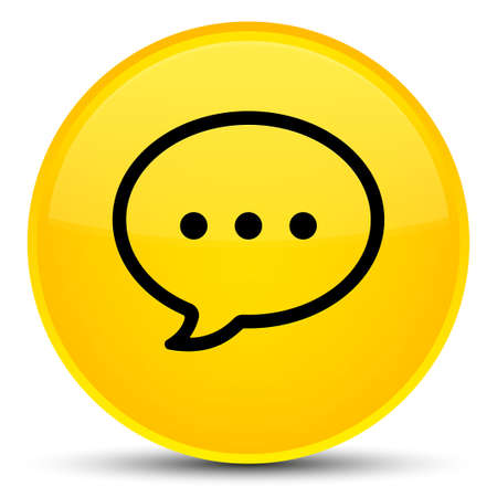Talk bubble icon isolated on special yellow round button abstract illustration Stock Photo