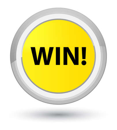 Win isolated on prime yellow round button abstract illustration Stock Photo