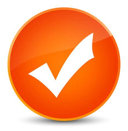 Validation icon isolated on elegant orange round button abstract illustration