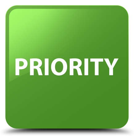 Priority isolated on soft green square button abstract illustration Reklamní fotografie