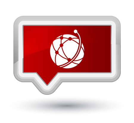Global network icon isolated on prime red banner button abstract illustration