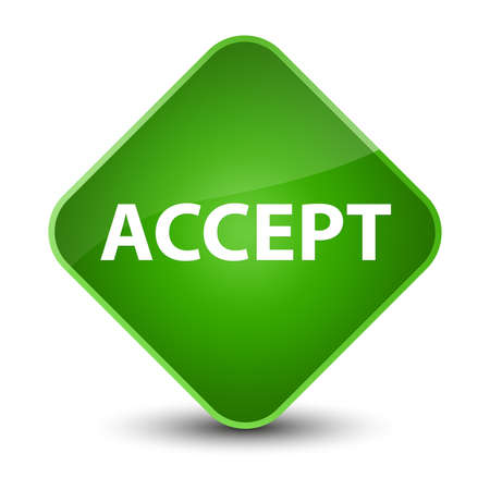 Accept isolated on elegant green diamond button abstract illustration