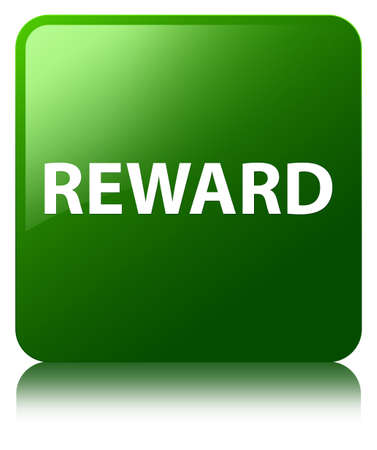 Reward isolated on green square button reflected abstract illustration