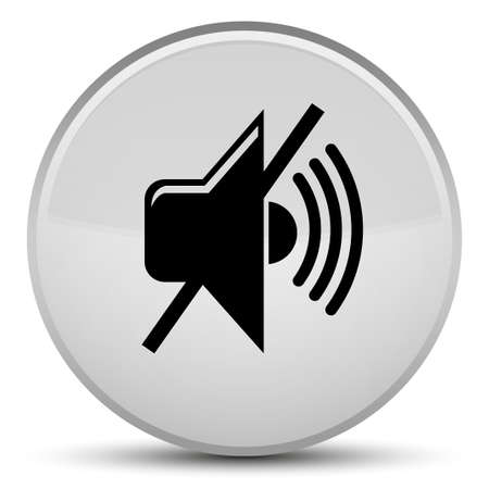 Mute volume icon isolated on special white round button abstract illustration