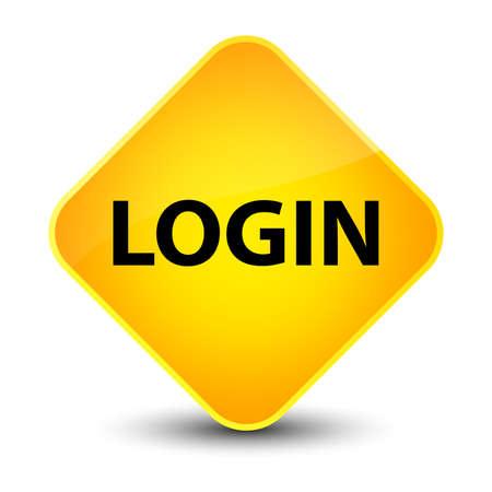 Login isolated on elegant yellow diamond button abstract illustration