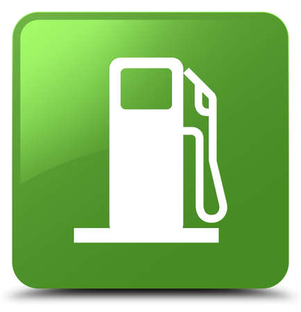 filling station: Fuel dispenser icon isolated on soft green square button abstract illustration