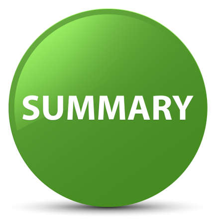 Summary isolated on soft green round button abstract illustration Stok Fotoğraf