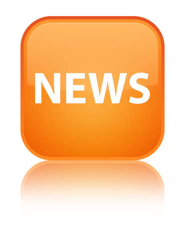 News isolated on special orange square button reflected abstract illustration