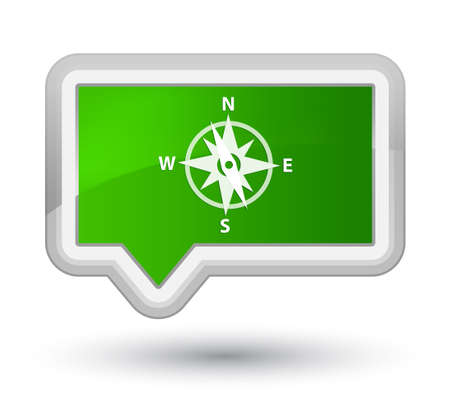 Compass icon isolated on prime green banner button abstract illustration