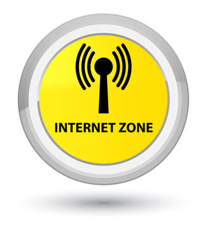 Internet zone (wlan network) isolated on prime yellow round button abstract illustration Stock Photo