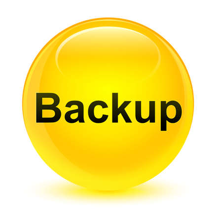 Backup isolated on glassy yellow round button abstract illustration Stock Photo