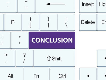 Conclusie op de purpere abstracte illustratie die van de toetsenbordknoop wordt geïsoleerd