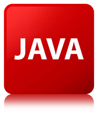 Java isolated on red square button reflected abstract illustration