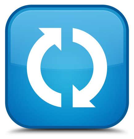 特別なシアン青い正方形ボタンの抽象的なイラストに分離されたアイコンを更新します。