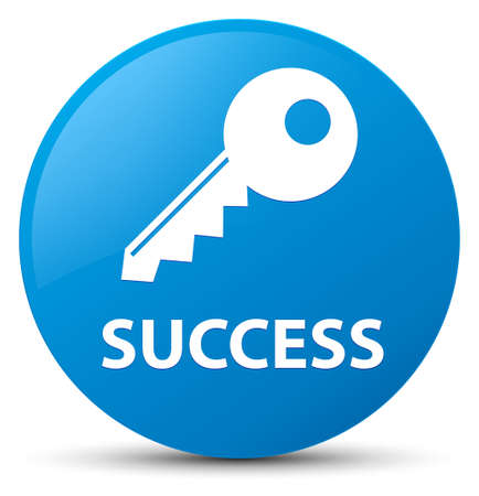 Success (key icon) isolated on cyan blue round button abstract illustration