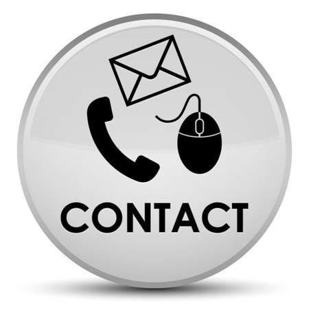 Contact (phone email and mouse icon) white isolated on special round button abstract illustration