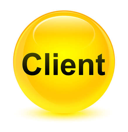consumer: Client isolated on glassy yellow round button abstract illustration Stock Photo