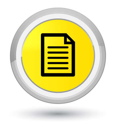prime: Page icon isolated on prime yellow round button abstract illustration Stock Photo