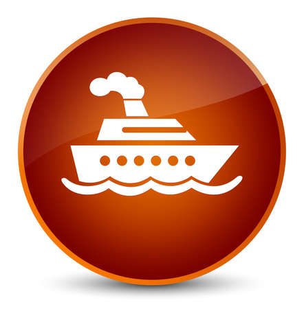 Cruise ship icon isolated on elegant brown round button abstract illustration