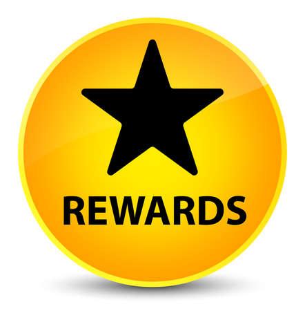 Rewards (star icon) isolated on elegant yellow round button abstract illustration
