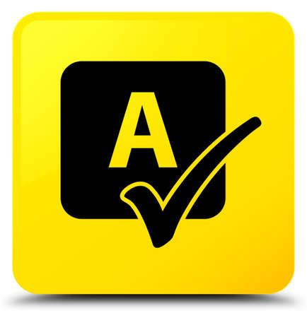 Spell check icon isolated on yellow square button abstract illustration Stock Photo