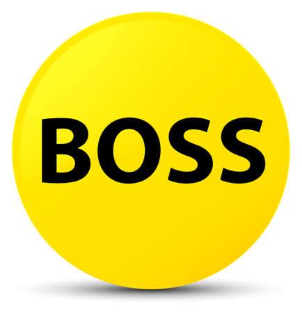 principal: Jefe aislado en la ilustración abstracta de botón redondo amarillo Foto de archivo