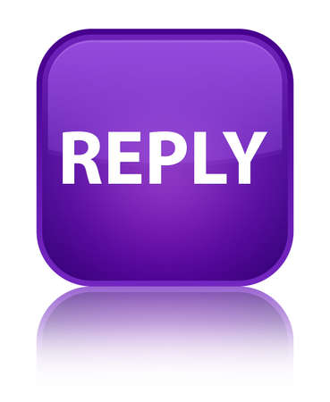 Reply isolated on special purple square button reflected abstract illustration