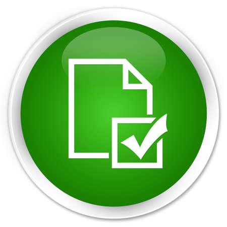 Survey icon isolated on premium green round button abstract illustration